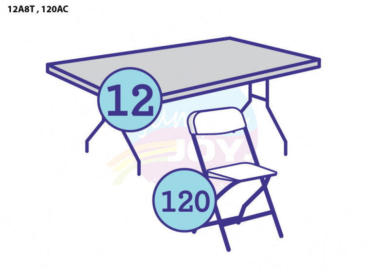 12 Adult Eight Foot Rectangular Tables, 120 Adult Chairs