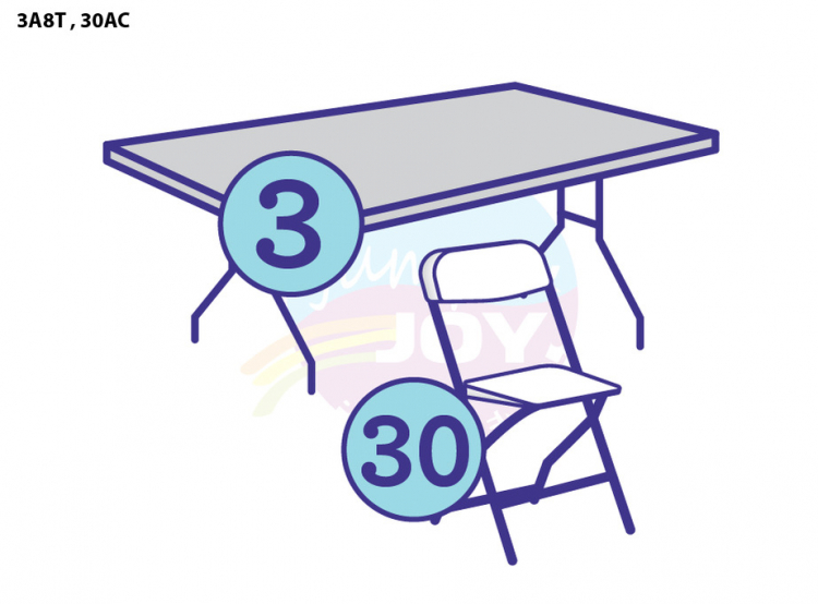 3 Adult Eight Foot Rectangular Tables, 30 Adult Chairs