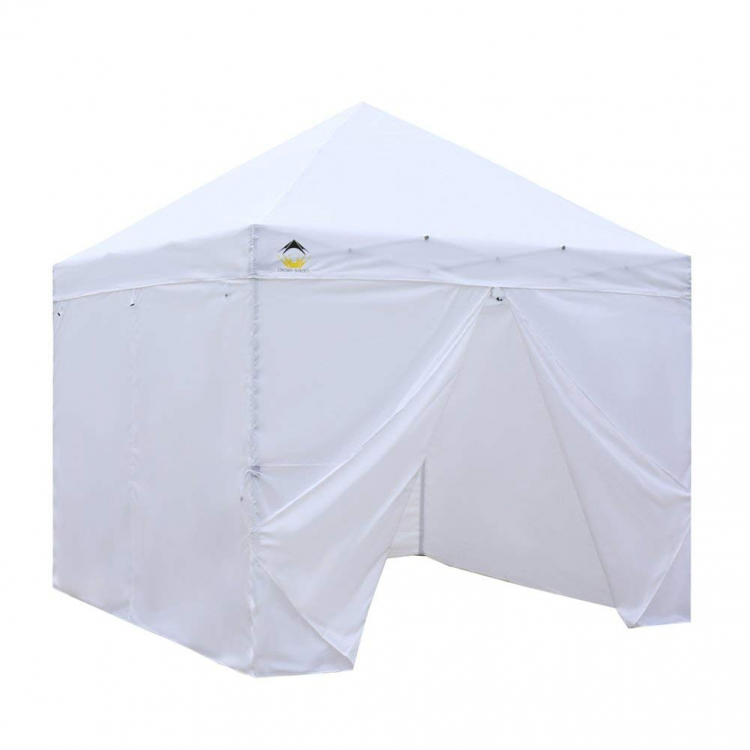White 10' X 10' Tent w/ 3 Solid Walls & 1 Zippered Entry