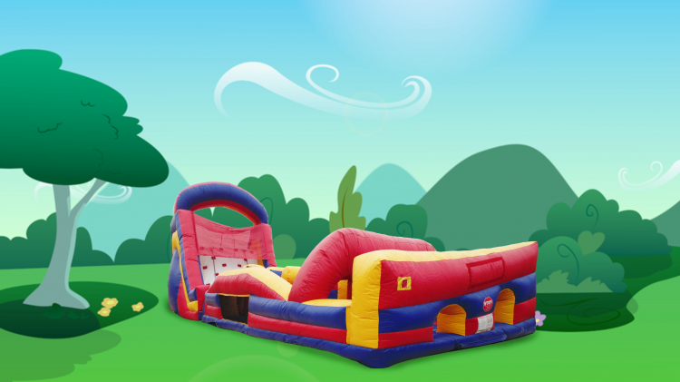 65' Rock Wall Obstacle Course & Slide Combo