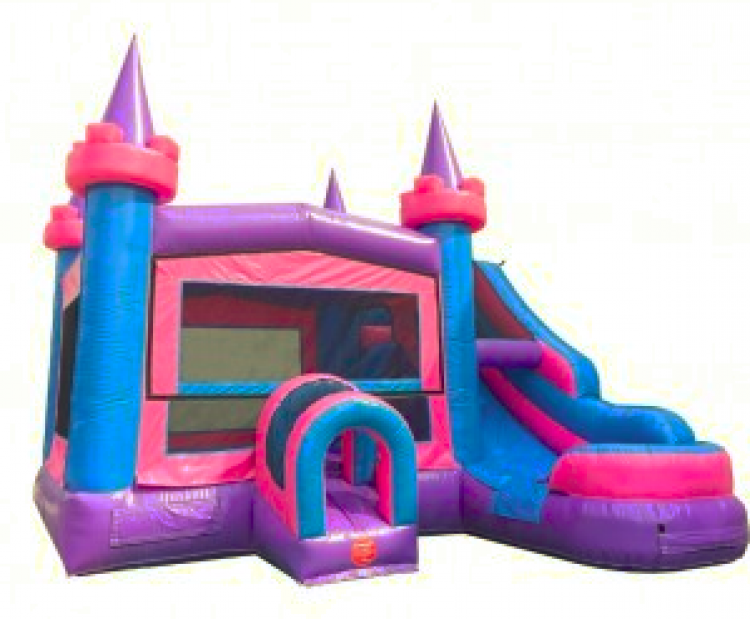 PINK/PURPLE DRY OR WATER SLIDE BOUNCE COMBO 100+ THEMES