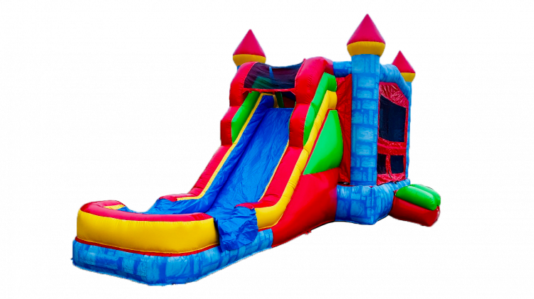 BLUE DRY OR WATER SUPERSLIDE 5 N 1 BOUNCE COMBO 100+ THEMES