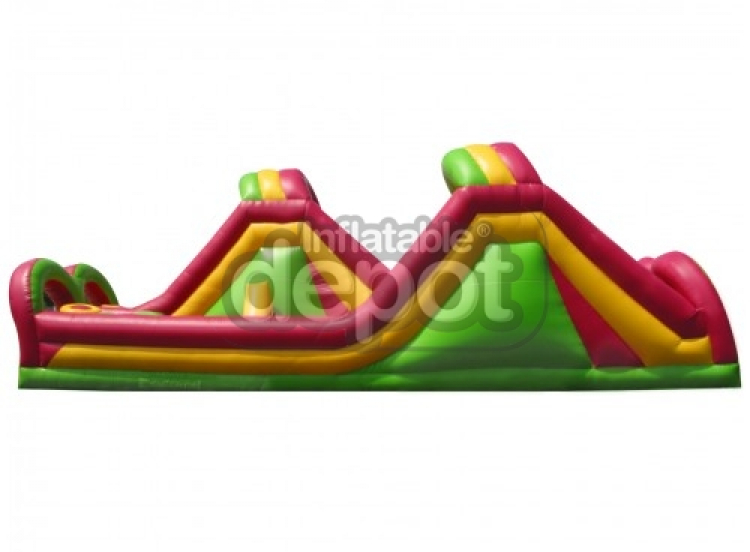 40' Two Lane Double Rock Wall & Slide Obstacle