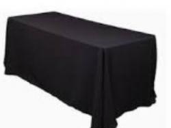Black 6' Rectangular Table Full Drape Linen