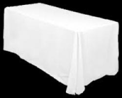 White 6' Rectangular Table Full Drape Linen